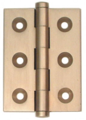 Butt hinge, button finial, 50x38 mm, brass, unwashered,antique bronze