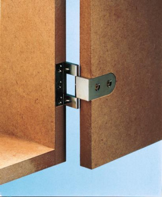 Butt hinge, neuform, for door thickness 15-16 mm, for overlay doors, polished nickel