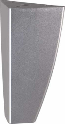 Furniture foot, height 125mm, with 62x62mm mounting plate, plastic, lacquered, silver