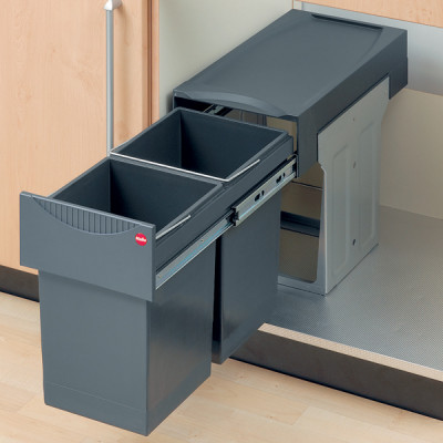 Pull out waste bin, 2x 15 litre bins, graphite grey