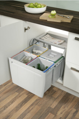 Pull out waste bin, hinged door cabinets, 4x12 litres, city, for cabinet width min. 600 mm