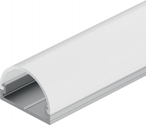 Drawer profile, for Loox LED flexible lights, surface mounting, silver anodised, milkey
