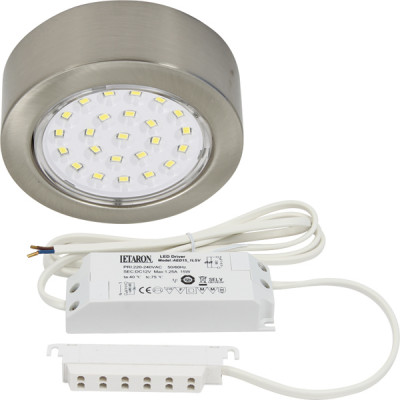LED round downlight 3 set, 12W/12V,  69 mm, rated IP20, daylight white 6000K, stainless