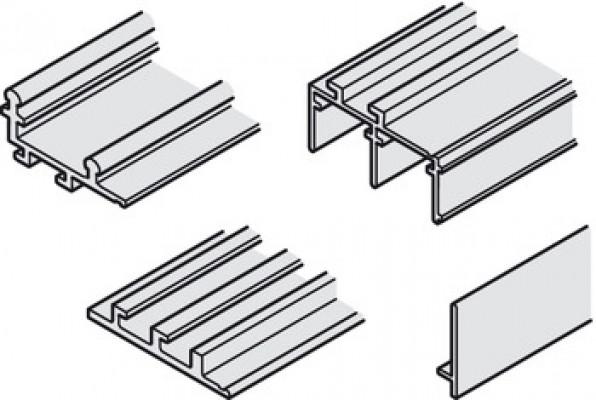 Hawa, antea 50-80/FS, track set, for sliding cabinet & wardrobe doors, top hung, L=1800 mm