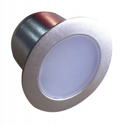 LED plinth set, 12V/2W, 4 x round (0.5W) with driver, cool white, brushed chrome