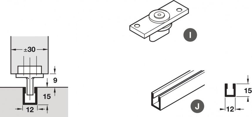 Bottom channel 2100 mm, top hung sliding interior Doors, Hawa Junior/foldaside