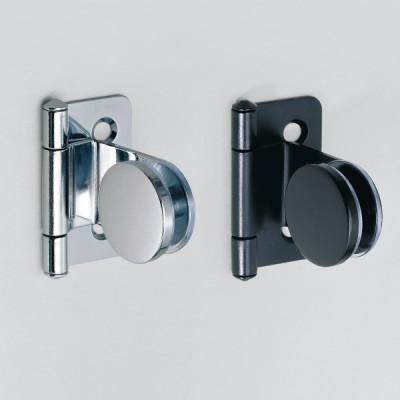 Glass door hinge, inset, black