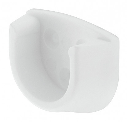 Round wadrobe rail end support, Ø 20 mm, screw fixing, white