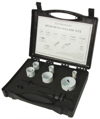 Holesaw, electricians kit, 9 piece kit