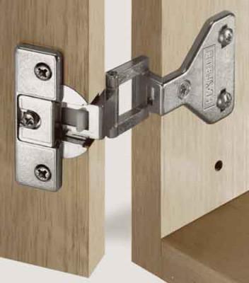 Exposed axle hinge, 180ø, half overlay mounting, Aximat 100, Hospa screw fixing arm, 48/6