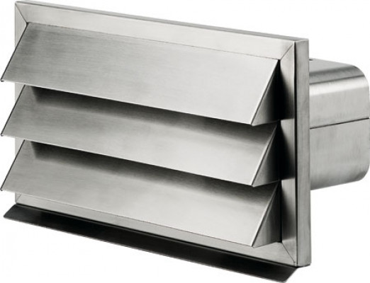 Wall vent, stainless steel, system 125 vent height & width 161x220 mm