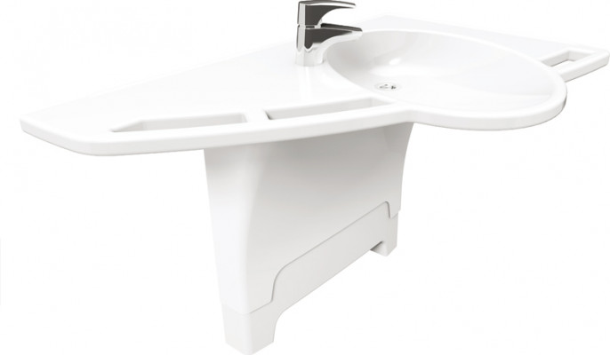 Height adjustable fittings, support washbasin, ropox, fixed version, left  version