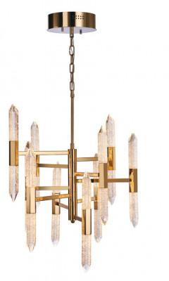 LED ceiling pendant, vertical, IP20, 20 light, 10 arm, Shard, mains voltage, gold