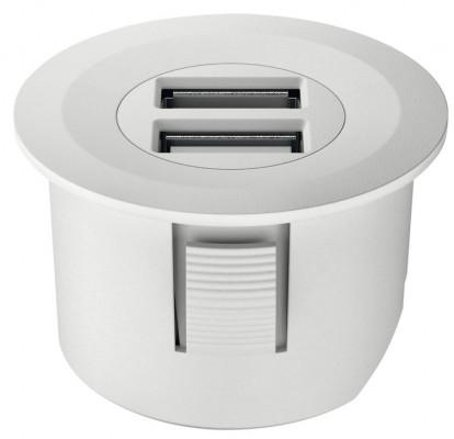 USB charging station 12V, round, Ø40 mm, modular, Loox, matt white