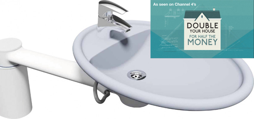 Height adjustable fittings, swing washbasin, ropox, fixed height, short cover