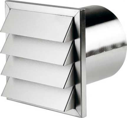 Wall vent, connector depth: 145 mm, system 150, 190x190 mm, tube ø100 mm, stainless steel