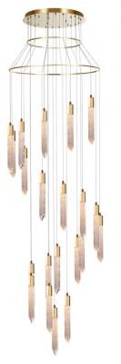 LED ceiling pendant, adjustable, IP20, 21 light, Shard, mains voltage, gold