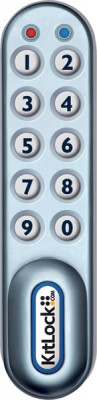 Cabinet lock, digital electronic, 10 button keypad, silver