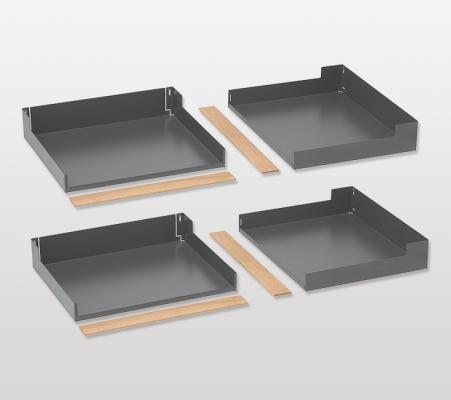 Magic corner standard clip on shelf set, FIORO, DW=400 mm, PEKA, anthracite/oak