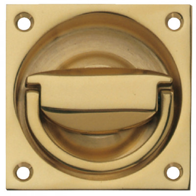 Ring handle, flush, to operate, brass, size (a) 65x65 mm, › 61 mm, satin nickel