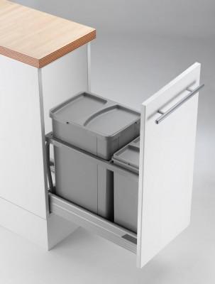 Pullboy AZ bin & frame for ANTARO, CW=300 mm, 36 litre (1x10, 1x26), WESCO, grey