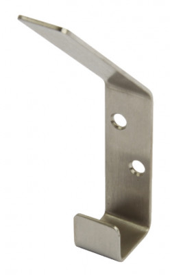 Hat & coat hook, stainless steel, 60x123 mm, face fixing satin stainless steel