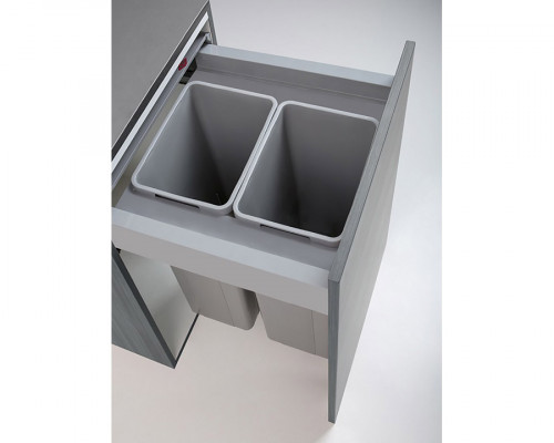 Pullboy Z bin, frame & lid for LEGRABOX,CW=600mm,H=575mm, 80 litre (2x40 litre),WESCO,grey