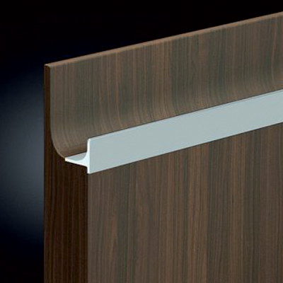 Profile handle, anodised aluminium, L=2500 mm, groove length 2450 mm, stainless steel