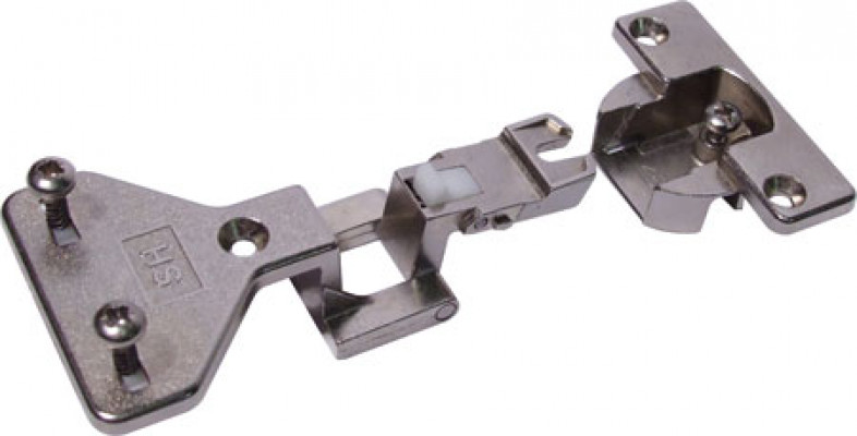 Exposed axle hinge, 180ø, half overlay mounting, Aximat 100, pre-mounted, nickel
