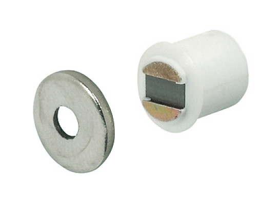 Magnetic catch, mortice type, white