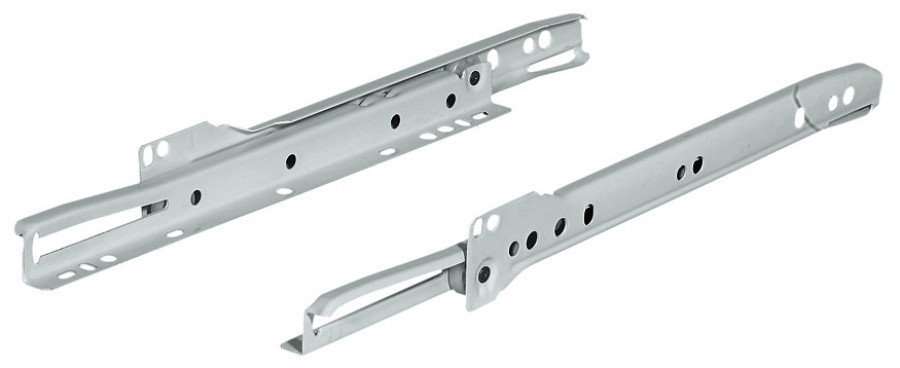 Roller drawer runners, single extension, capacity 25 kg, length 450 mm, brown
