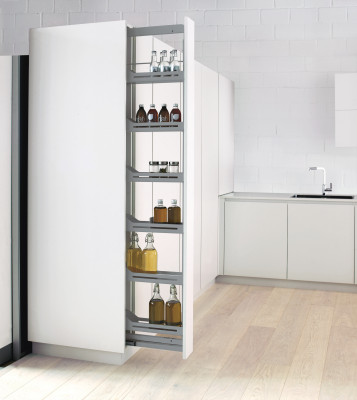 Larder, LIBELL, CW=150 mm, H=1545-1945 mm, soft close, 5 storage baskets, PEKA,anthracite