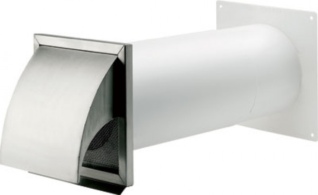 Wall vent system, stainless steel, with hood, system 125/150, system 150, tube ø 150 mm