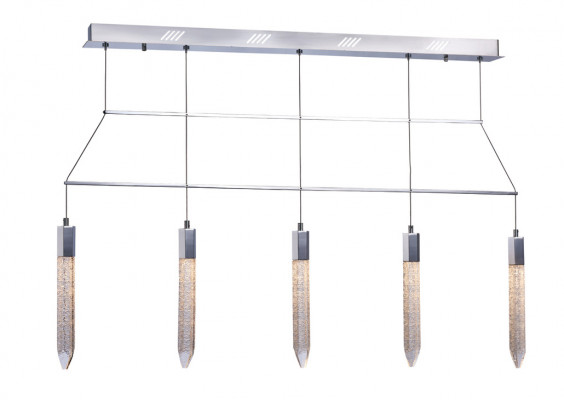 LED ceiling pendant, adjustable, IP20, 5 Light, Shard, mains voltage, chrome