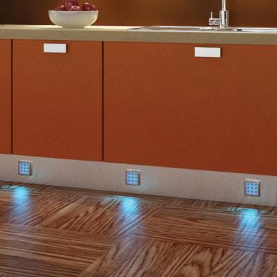 LED downlight 12V/1.7W, 52x52 mm, IP20, loox LED 2010 RGB, matt stainless steel,