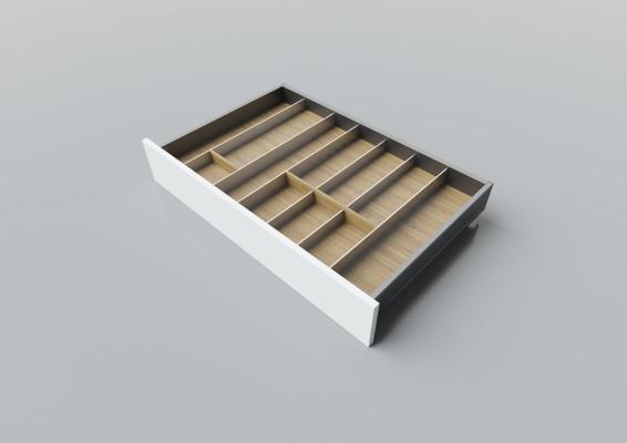 Cutlery divider for LEGRABOX/TA'OR C=700-950 mm, NL=500 mm, oak
