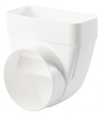 Deflector, white plastic, system 125/150, system 125, heightxwidth 82x174 mm, › 125 mm