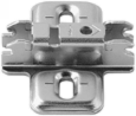 CLIP mounting plate, cruciform, 3 mm, steel, screw-on, elongated hole, NP