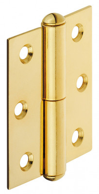 Furniture hinge, straight, rolled steel, for butting, inset or overlay doors, right, brass