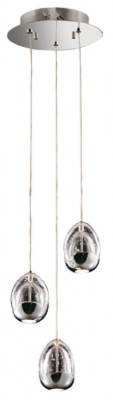Ceiling pendant, adjustable, LED, IP20, 3 Light, Terrene, mains voltage, polished chrome