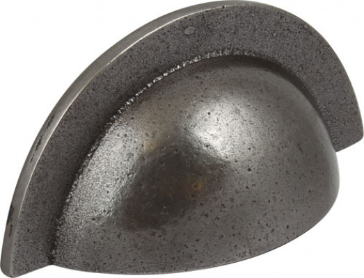 Cup pull handle, iron, fixing centres 64 mm, smooth, cast iron