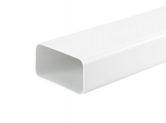 Ducting tube, length 1000 mm, system 125, 77x169 mm, white plastic