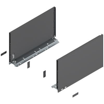 LEGRABOX pure drawer side, height F (241 mm), NL=400 mm, left+right, orion Grey