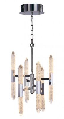 LED ceiling pendant, vertical, IP20, 12 light, 6 arm, Shard, mains voltage, chrome