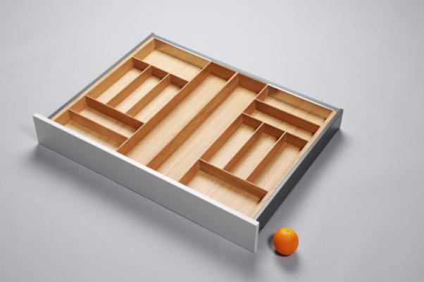 Cutlery divider for ANTARO/LEGRABOX/TA'OR C=800-1000 mm, NL=650 mm, oak