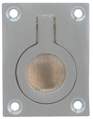 Ring pull, flush, 50x38x12 mm, brass, satin chrome
