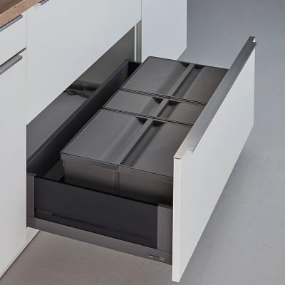 Pullboy 9XL for LEGRABOX bin & frame, CW=900 mm, 63 litre (2 x 26 1 x11 litr), WESCO, grey