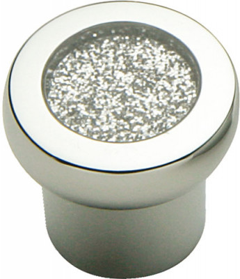 Knob, zinc alloy, ø 24 mm, glitter, chrome with glitter inner, sealed