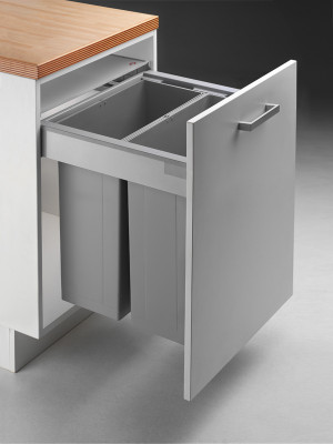 Pullboy Z bin & frame for ANTARO, 84 litre (2x42 litre), CW=600 mm, WESCO, grey