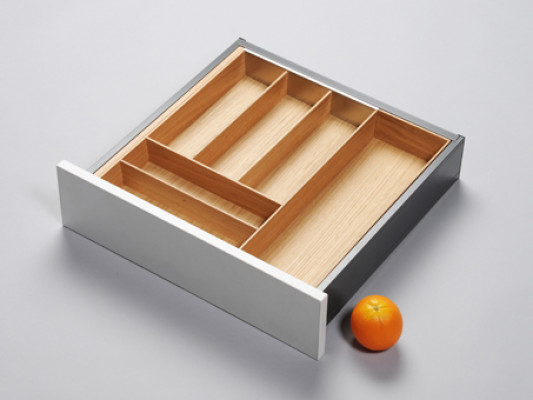 Cutlery divider for ANTARO/LEGRABOX/TA'OR C=500-600 mm, NL=450 mm, oak
